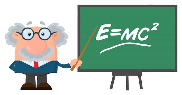 Personaggio dei cartoni animati di professore o scienziato con puntatore che presenta la formula di einstein.