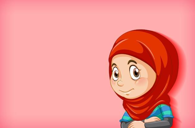 Personaggio dei cartoni animati di ragazza musulmana felice