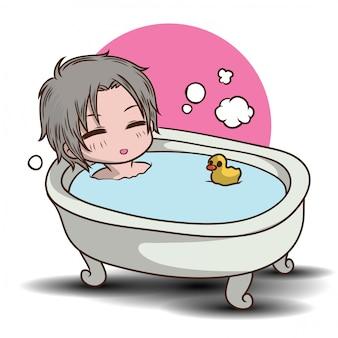 Personaggio dei cartoni animati di ragazzo carino doccia