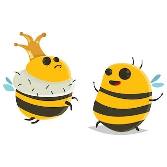 Personaggio dei cartoni animati di regina con corona e ape.