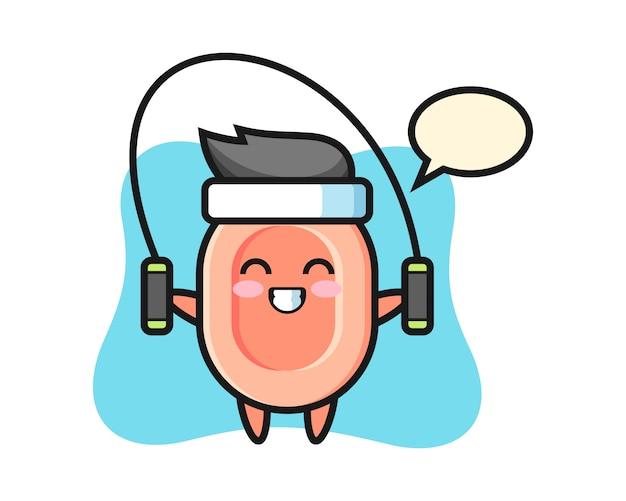 Personaggio dei cartoni animati di sapone con la corda per saltare, stile carino per maglietta, adesivo, elemento logo