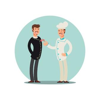 Personaggio dei cartoni animati di squadra ristorante. design piatto per chef e sommelie