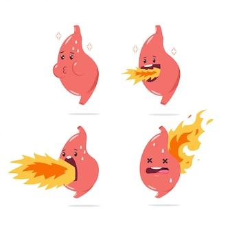 Personaggio dei cartoni animati di stomaco bruciore di stomaco vettoriale con organo interno divertente con il fuoco. set di illustrazione isolato