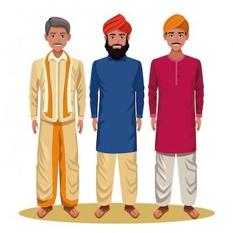 Personaggio dei cartoni animati di uomini indiani avatar