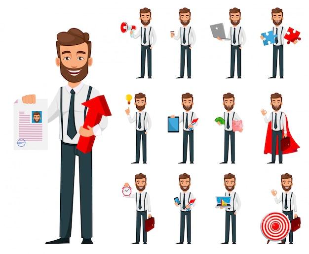Personaggio dei cartoni animati di uomo d'affari, impostare