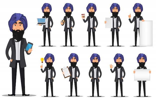 Personaggio dei cartoni animati di uomo d'affari indiano