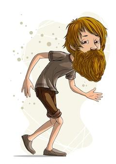 Personaggio dei cartoni animati divertente barbuto hipster