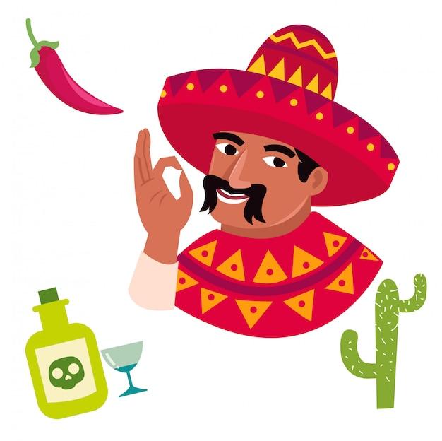 Personaggio dei cartoni animati divertente degli uomini messicani
