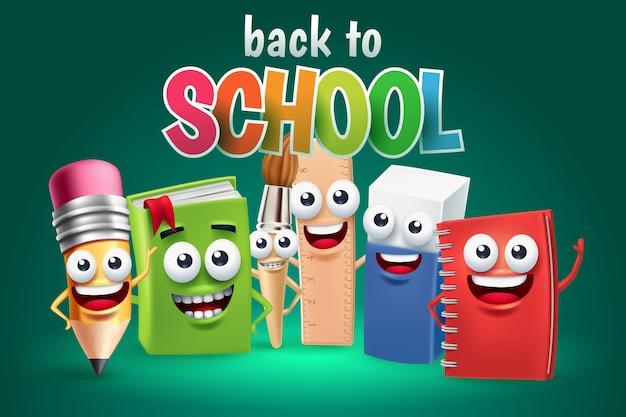 Personaggio dei cartoni animati divertente del rifornimento di scuola, di nuovo al concetto della scuola