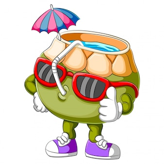 Personaggio dei cartoni animati divertente della noce di cocco che dà pollice in su