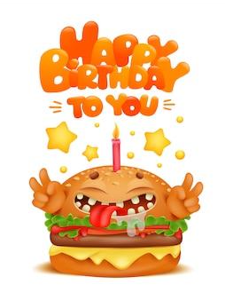 Personaggio dei cartoni animati divertente hamburger con candela.