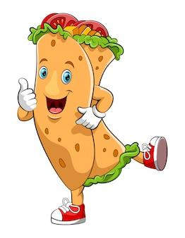 Personaggio dei cartoni animati divertente kebab
