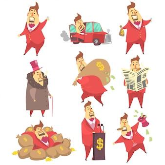 Personaggio dei cartoni animati divertente milionario rich man e il suo insieme di soldi di situazioni di stile di vita