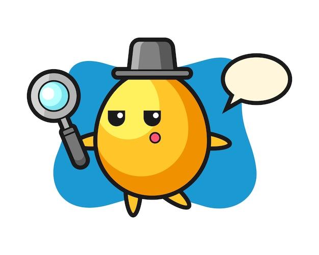 Personaggio dei cartoni animati dorato dell'uovo che cerca con una lente d'ingrandimento, progettazione sveglia di stile