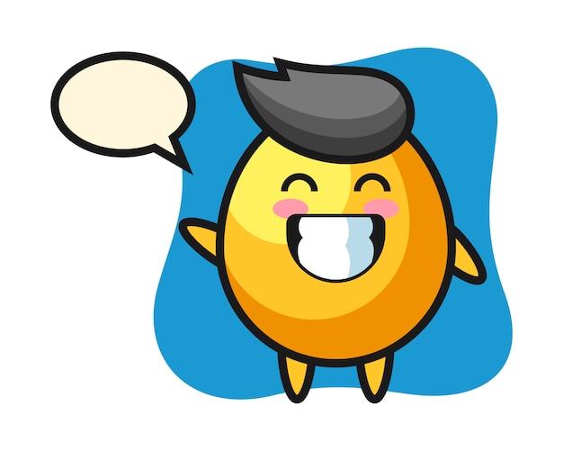 Personaggio dei cartoni animati dorato dell'uovo che fa gesto di mano dell'onda, progettazione sveglia di stile