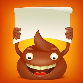 Personaggio dei cartoni animati emoticon cacca con banner di carta.