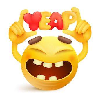 Personaggio dei cartoni animati emoticon smiley giallo con titolo di yeap.