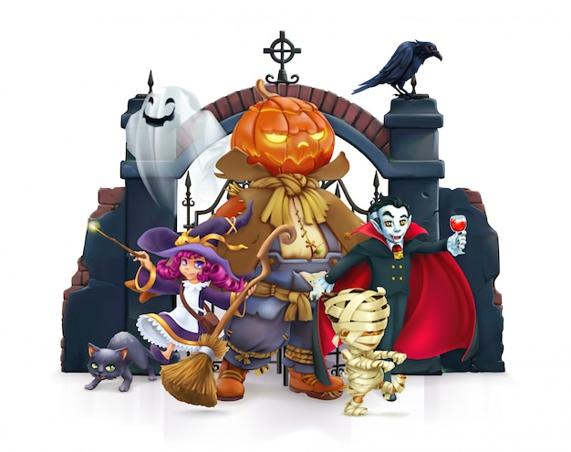 Personaggio dei cartoni animati felice halloween
