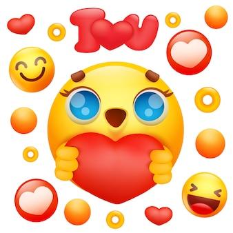 Personaggio dei cartoni animati giallo del fronte di sorriso di emoji 3d che tiene l'icona rossa del cuore.