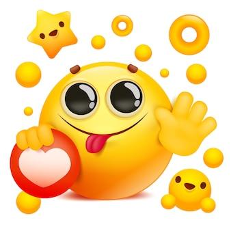 Personaggio dei cartoni animati giallo emoji del fronte di sorriso 3d che tiene l'icona della rete sociale
