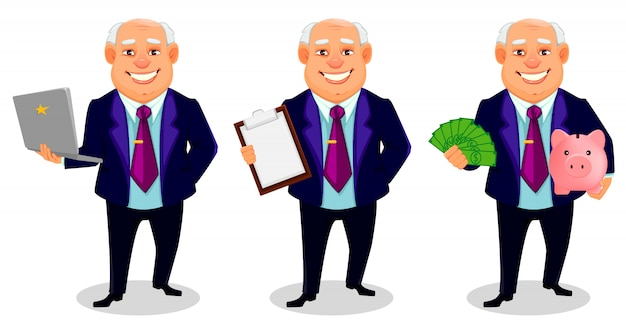 Personaggio dei cartoni animati grasso allegro dell'uomo di affari