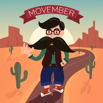 Personaggio dei cartoni animati hipster con lunghi baffi