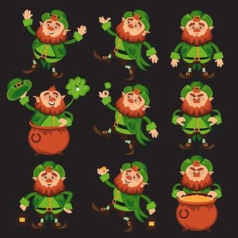 Personaggio dei cartoni animati leprechaun impostato per il giorno di san patrizio