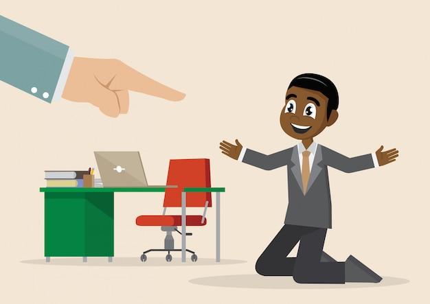Personaggio dei cartoni animati, mano di uomo d'affari africano puntare su uomo selezionato.