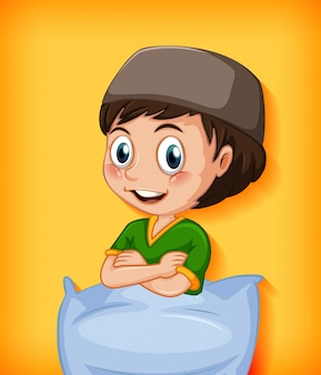 Personaggio dei cartoni animati maschio con cuscino