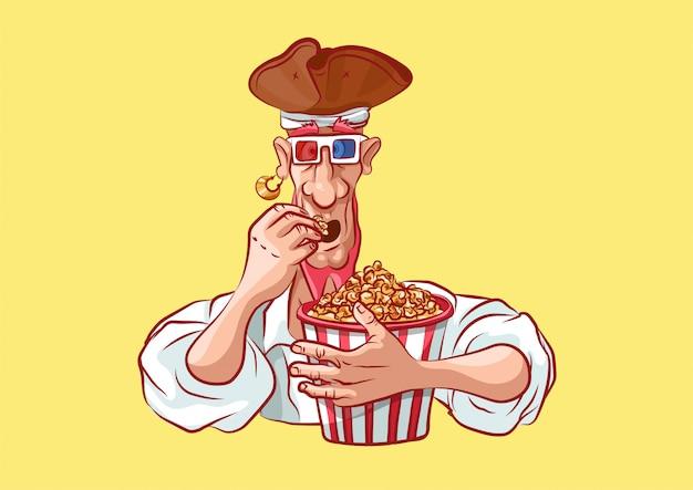 Personaggio dei cartoni animati mascotte pirata che mangia popcorn in occhiali 3d