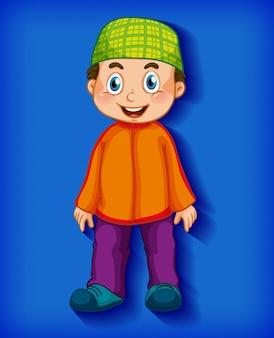 Personaggio dei cartoni animati musulmano maschio sul fondo di pendenza di colore