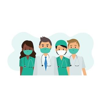 Personaggio dei cartoni animati piatto di equipe medica indossando maschera protettiva su sfondo bianco. team di medico e infermiere.