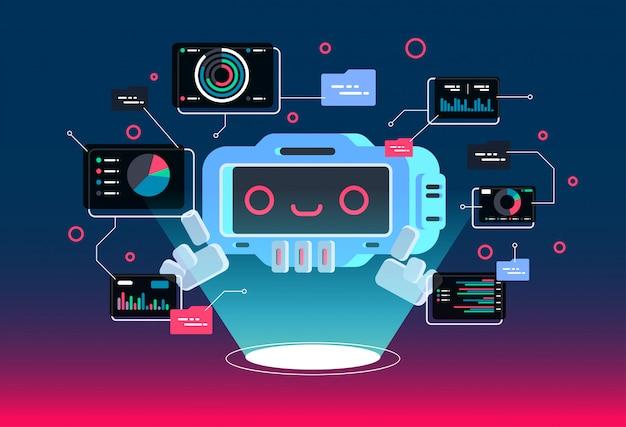 Personaggio dei cartoni animati piatto moderno di vettore. chat bot saluta.