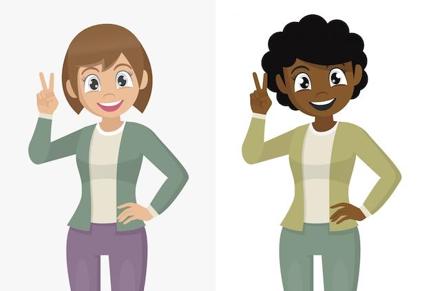 Personaggio dei cartoni animati pone, ragazza che gesturing il segno del vincitore. ritratto di giovane donna alla moda che mostra vittoria, v, due o segno di pace con le dita.