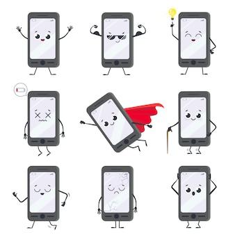 Personaggio dei cartoni animati smartphone. mascotte del telefono cellulare con mani, gambe e viso sorridente sul display. set di smartphone felici