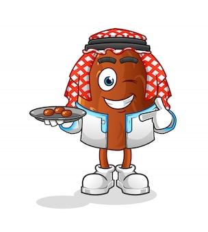 Personaggio dei cartoni animati sorridente della frutta araba della data