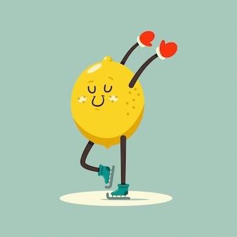 Personaggio dei cartoni animati sveglio del bambino del limone che pattina sull'illustrazione della pista di pattinaggio sul ghiaccio isolata sopra.