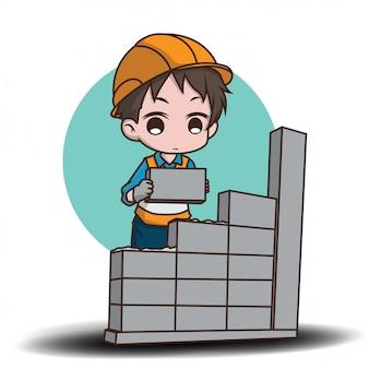 Personaggio dei cartoni animati sveglio del muratore., concetto di lavoro