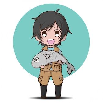 Personaggio dei cartoni animati sveglio del pescatore., concetto di job cartton.