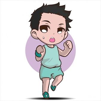 Personaggio dei cartoni animati sveglio del ragazzo di corsa.