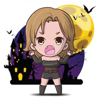 Personaggio dei cartoni animati sveglio del vamprie nell'illustrazione della luna piena.