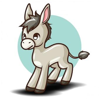 Personaggio dei cartoni animati sveglio dell'asino., concetto di carattere animale.