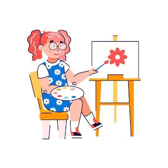 Personaggio dei cartoni animati sveglio della bambina che disegna l'illustrazione piana di vettore isolata.