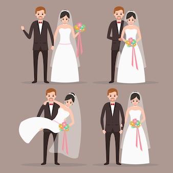 Personaggio dei cartoni animati sveglio delle coppie dello sposo e della sposa con molte pose