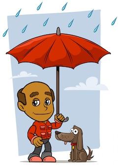 Personaggio dei cartoni animati vecchio con ombrello e cane