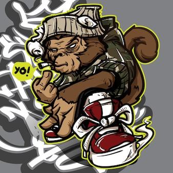 Personaggio dei graffiti di hip-hop-scimmia