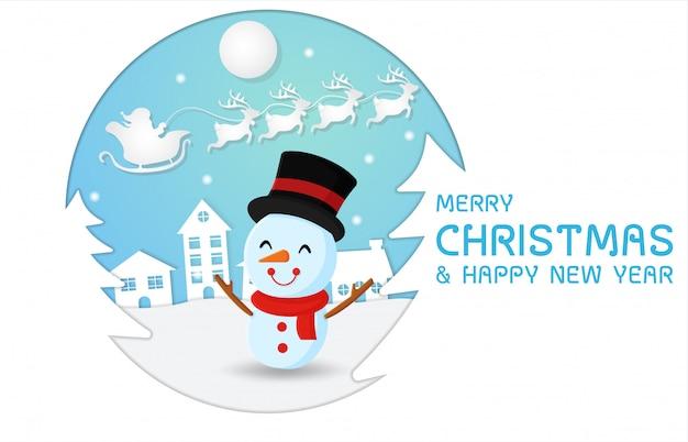 Personaggio dei pupazzi di neve con sfondo papercut.