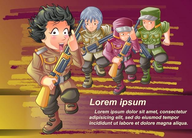 Personaggio dei soldati e i suoi amici sul disegno di sfondo.