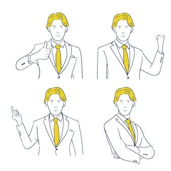 Personaggio del giovane uomo d'affari in vari gesti.