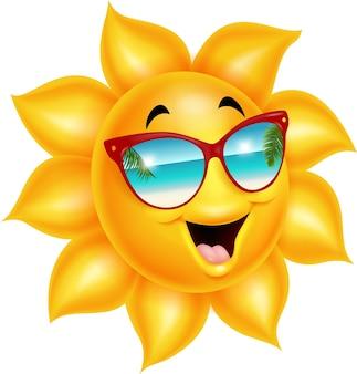 Personaggio del sole del fumetto che indossa occhiali da sole